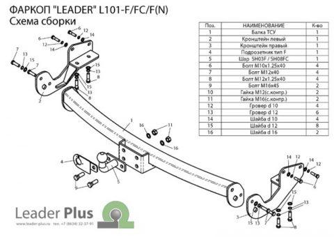 L101-F(N) для LEXUS RX 300_330_350_400 (XU3) 2003-2009 (C НЕРЖ. ПЛАСТИНОЙ)