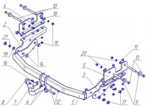 HY 21 для Hyundai Grand Starex, 4х4 минивен 2007-2013, 2014